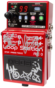 RC-3 Loop Station pedal autographed by John-5, Steve Stevens, Billy Duffy, Herman Li, and Darryl Jones