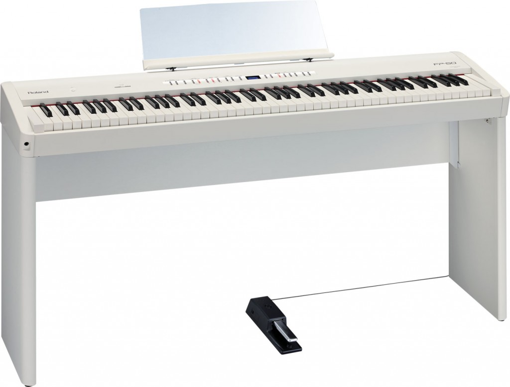 Roland FP-50 Digital Piano in white finish with optional KSC-44 stand.