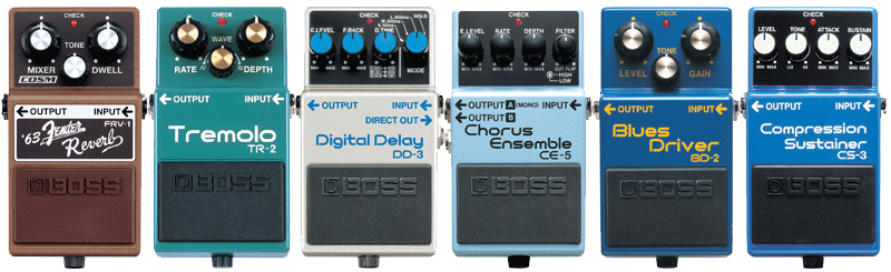 Blues guitar effects pedals names and model numbers