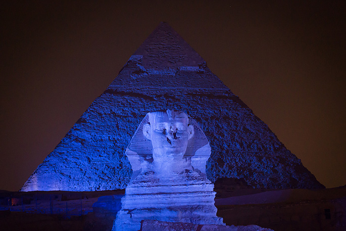 The Great Sphinx goes blue to support autism awareness