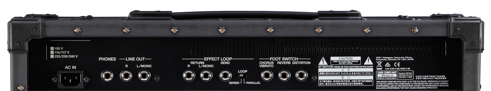 Rear panel of the Roland JC-40 Jazz Chorus Guitar Amp