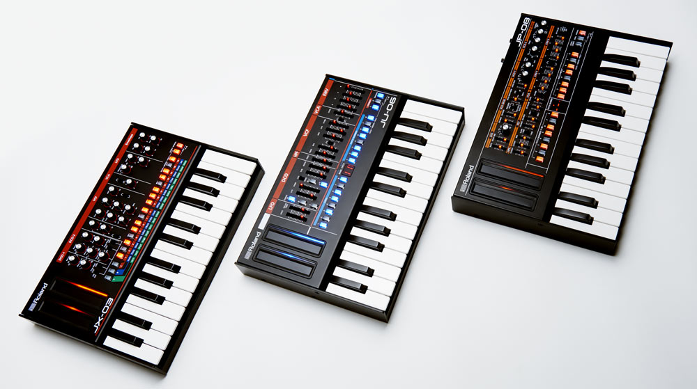 Roland Boutique modules docked in optional K-25m Keyboard Units