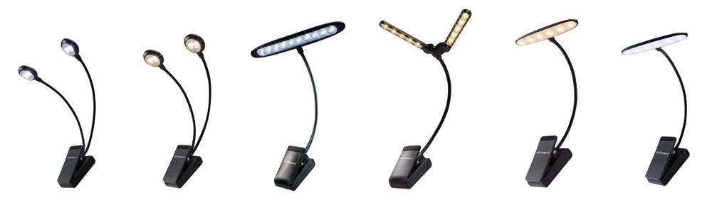The latest clip lights in the Roland accessories line come in various sizes and styles.