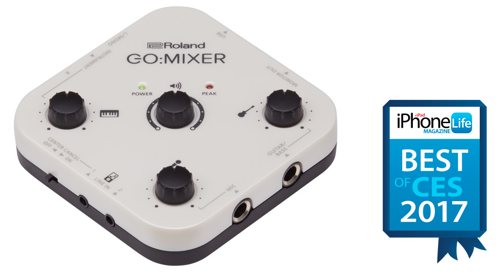 The Roland GO:MIXER received a Best of CES 2017 award from iPhone Life magazine.