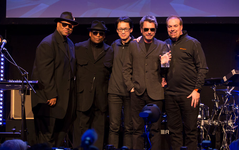 Left to right: Jimmy Jam, Terry Lewis, Jun-ichi Miki, Jean-Michel Jarre, and Jay Wanamaker.