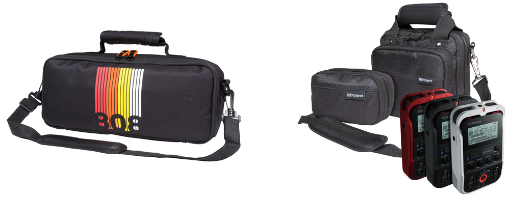 Limited-edition Roland Boutique bag (left) and bags for the R-07 recorder.